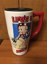 "Vintage Betty Boop Ceramic Travel Mug ""Life's A Beach"" Beach Blanket Betty"