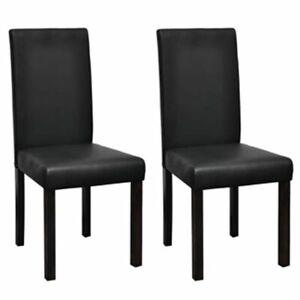 vidaXL 2x Sillas de Comedor Salon Cuero Artificial Negro Estructura de Madera