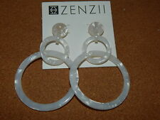 Marble Anthropologie Zen11 Sold Out $48 Earrings Hoops Double Resin Off White