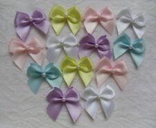 "1"" (W) MIX (5 Colors) Pastel Satin Mini Ribbon Bows w/Beads -50pcs (R0034MLt)"