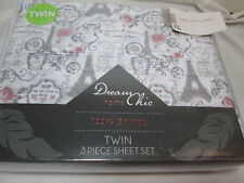 NEW Dream Chic Twin Sheet Set PARIS Station ROSE Floral EIFFEL TOWER