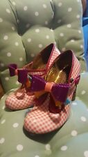 IRREGULAR CHOICE love you Check en rouge avec nœuds intact taille 38 5