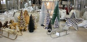Tannenbaum Stern Schlitten Gold Silber Schwarz Grün Dekoration Weihnachten Winte