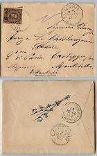 REGNO UMBERTO I-20c su 30c(57) isolato su lettera Tregnago 14.10.1890