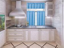 3PC SOLID KITCHEN WINDOW DRESSING CURTAIN BLACKOUT NEW STYLE TREATMENT DRAPE K3