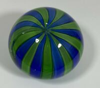 "Clear Round Art Glass Paperweight Blue and Green Ribbons 3"" Diameter"