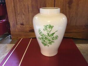 "Off White Gloss Ceramic/Pottery Green FloralVase -  EUC - 11 1/2 x 7"""