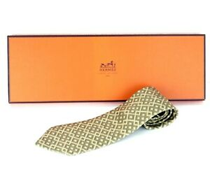 Auth HERMES Check 100% Soie Silk Men's Necktie Tie 7656 TA France W/ Box Good