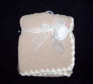 "NEW Koala Baby Cozy Blanket Tan Beige Cream White Scalloped Trim Lovey 30x40"""