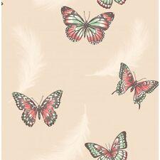 CREAM BEIGE BUTTERFLIES FEATHERS LUXURY HEAVYWEIGHT WALLPAPER FD40918 FINE DECOR