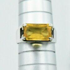 Vintage Sterling Silver Ring Citrine signet Art Deco Nouveau Size L #W148