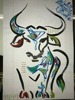 ORIGINAL Bull Malerei PAINTING zeichnung stier A4 art drawing psy contemporary