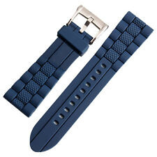 New 22mm Blue Silicone Rubber Watch Strap Band For Diver Sport watch replacement