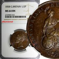 Great Britain Victoria Copper 1858 1/2 Penny NGC MS64 BN 1 GRADED HIGHEST KM#726