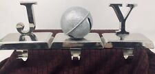 Christmas Stocking Holders Hangers JOY Set Silver Metal Holiday Mantle