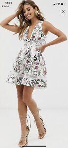 Asos Floral White Mini Wedding Guest Dress Size 10