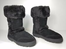size 7 Style & Co Witty Black Suede Snow Winter Mid Calf Boots Womens Shoes