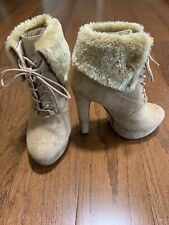 Fur Rim Beige Booties Lace-Up High Heel, Great Condition size 6.5