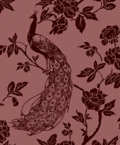 Peacock Silhouette Flocked Wallpaper MPF001 floral pomegranate red unpasted