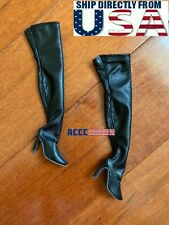 """1/6 Black Over The Knee Boots HOLLOW For 12"""" Hot Toys PHICEN Female Figure USA"""