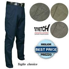 Pantalone Uomo Cotone Classico Vita Alta Jeans Estivo Gamba Larga Stretch 46-64