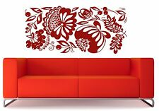 Wall Vinyl Sticker Square Floral Ornament Berry Bunch Openwork Leaves (n368)