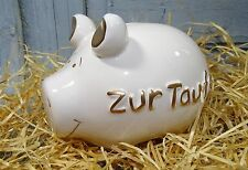 """KCG """"Spardose Zur Taufe""""12,5 cm""""cooles Kult-Sparschwein""""Geldgeschenk weiß-gold"""