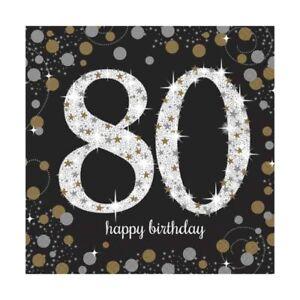 16 x Black Age 80 Napkins black gold silver 80th Birthday Tableware napkins