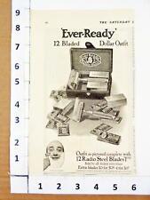 1914 Ever Ready American Safety Razor & Radio Steel Blades Set 12 Box Print AD