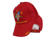 OES Order of the Eastern Star Mason Freemason Red Embroidered Cap Hat