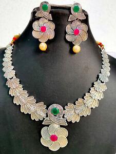 "22k Silver Plated Indian 8"" Long Gift Necklace Earrings  Wedding Set AdAu16"