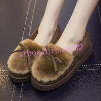 Warm Womens Fur Furry Shoes Pumps Bowknot Low Top Cotton Lined Flat Heel Pull On