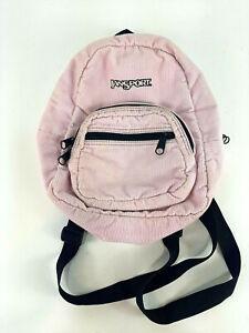 Vintage Jansport Half Pint Mini Small Corduroy Backpack Bag Pink