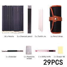29 Pcs Drawing Pencil Set Sketching Art Kit Beginners Sketch Graphite Erasers