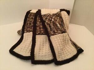 "AFGHAN - LARGE - Hand Knit -58"" X 70""- Brown/Cream/Multi-Brown -Machine Wash&Dry"