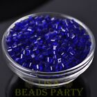 100pcs 4mm Cube Square Faceted Crystal Glass Loose Spacer Beads Deep Blue