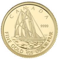 2012 Canada 50 Cents 1/25 oz Pure Gold Coin *The Bluenose* + Box & COA