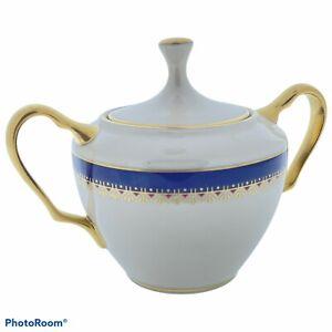 Lenox Jefferson Presidential Blue Band Sugar Bowl with Lid EUC