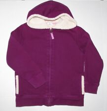 Lands End Kids Girls Cotton Blend Faux-Fur Lined Hoodie Purple Size L (6X-7)