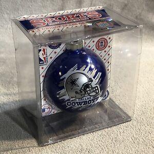 Dallas Cowboys NFL Glass Christmas Ball Ornament Blue Sports Collectors Series