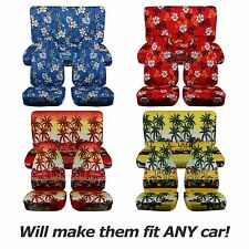 Hawaiian Print Car Seat Covers (Full Set, Semi-custom) Blue/Red/Yellow Palm/Flwr