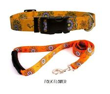 DESIGNER DOG COLLAR & LEAD SET *FREE SHIPPING *MADE IN THE USA (FOLK FLOWERS S)