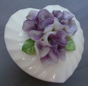 Heart Shaped Red Candle in 3D Violet Flowers Porcelain Box with Lid