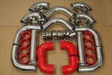 RED 3' TURBO INTERCOOLER PIPING KIT+COUPLER+CLAMP MUSTANG CORBA GT SVT V6 V8