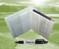 White Golf Scorecard Holder Protector with Pencil and Handicap Allowance Chart.