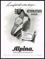 1940's Vintage 1947 Alpina Automatic Swiss Watch Mid Century Modern Art Print AD