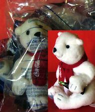 McDonald's 2 Holiday Coca-Cola Polar Bear 2002 plush toy NIP w Coca-Cola Bottle