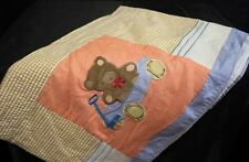 APPLIQUE TOYLAND BEAR BOAT AIRPLANE WINDOW VALANCE 90x14