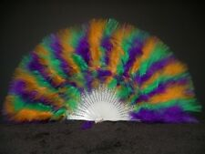 """MARABOU FEATHER FAN - GOLD/KELLY/PURPLE 12"""" x 20"""" Sexy/Burlesque/Costume"""