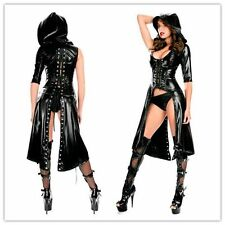 Sexy PVC BLACK DRESS WET LOOK MINI FETISH BONDAGE VINYL LEATHER CLUBWEAR SIZE